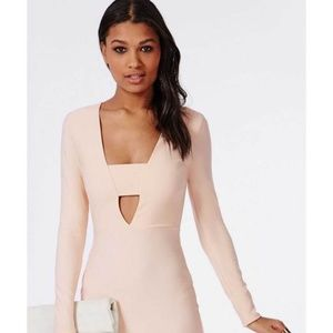 Missguided NWT Blush Long Sleeve Plunge Midi Dress